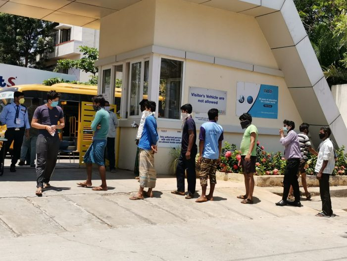 TRIO World Academy management distributes over 250 food packets, every day in North Bangalore