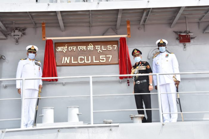 Step towards Atmanirbharta: Warship IN LCU L-57Indigenously built at GRSE, Commissioned
