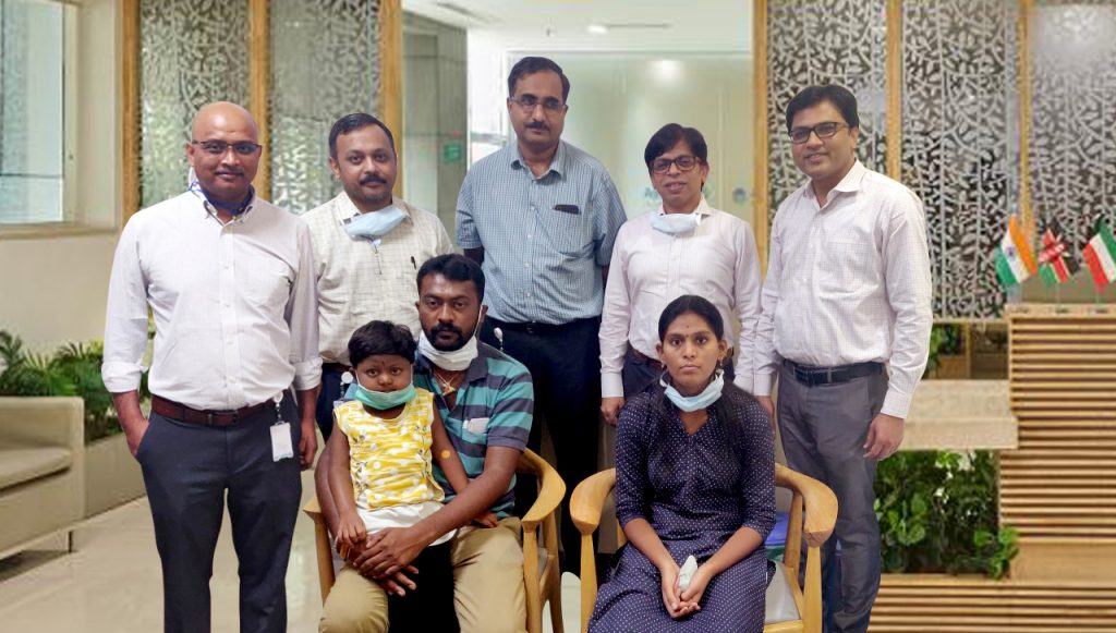 Punyashree with her Parents and Doctors who saved her life