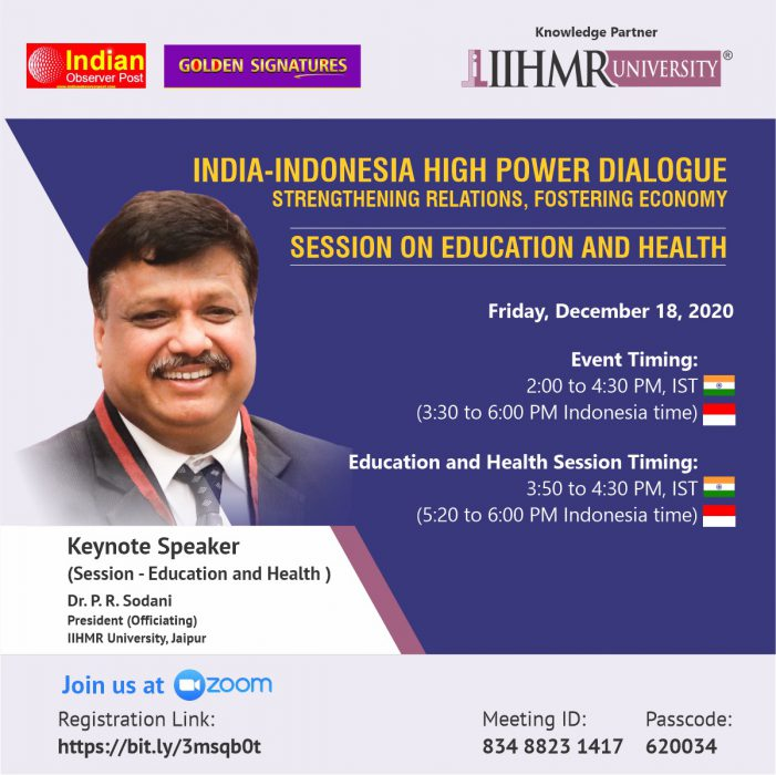 IIHMR University represents India as a knowledge partner to high power dialogue between India and Indonesia 2020
