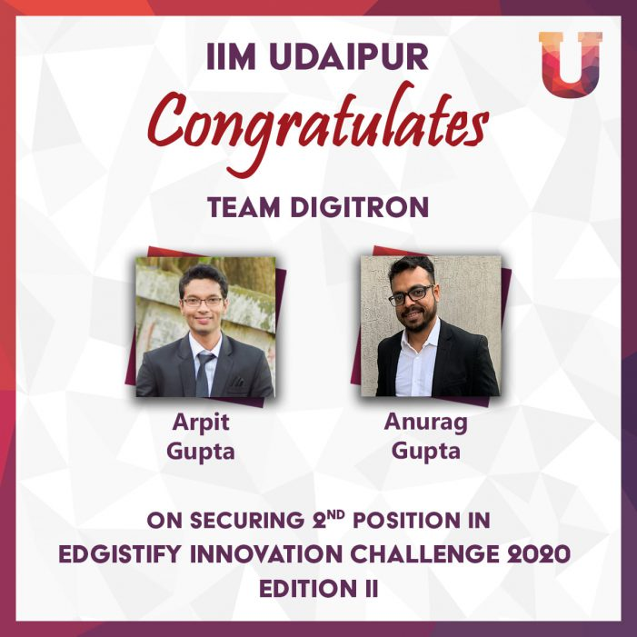 IIM Udaipur's Students Secure 2nd position in Edgistify Innovation Challenge